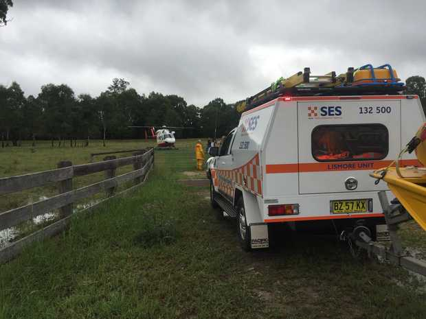 Lismore unit SES with the NSW SES helicopter, pictured on Saturday during a massive storm event.