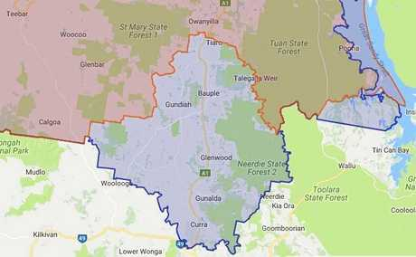 The current Maryborough electorate boundary (blue area) shown with the proposed changes (red). The red area will move into the Gympie electorate. Image: Queensland Redistribution Commission.