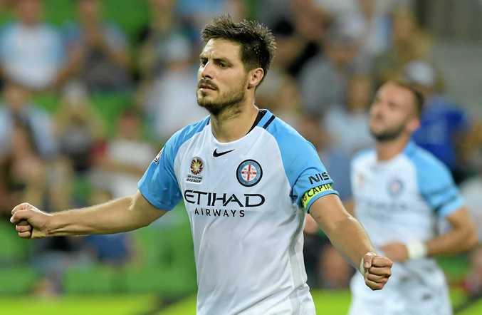 Bruno Fornaroli of Melbourne City celebrates scoring a goal against the Jets.