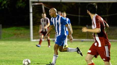 Bluebirds player Darren Holmes in the soccer game against Southside United at Jardine Park.