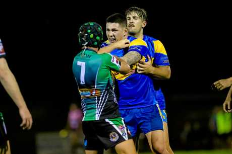 ILL-DISCIPLINE: Reece Coleman of The Gympie Devils goes toe-to-toe with Chad Parker from The Mary Valley Stags.