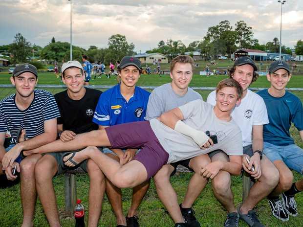 Lachlan Williams, Tim Morris, Mason McGlone, Sam Franks, Jakeb Ptolemy, Cameron Seth and (Front) Jacob Wheeler making their own fun at Jack Stokes Oval.