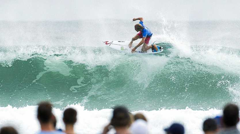 Owen Wright flies high on his way to winning the Quiksilver Pro at Snapper Rocks on the Gold Coast.