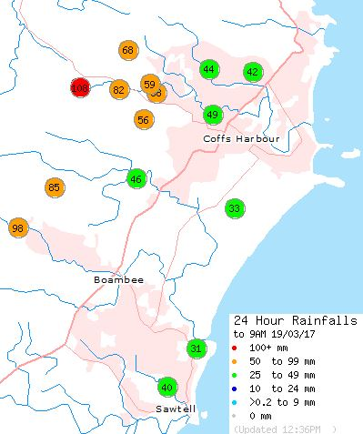 The Bureau of Meteorology's rainfall totals for Coffs Harbour through to noon Sunday.