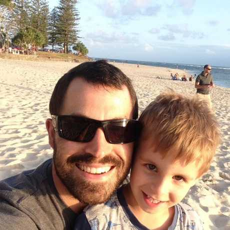 Coast father Nathaniel Beesley, pictured with 4-year-old son Freddie, died on March 17 while working in a Tasmanian mine.