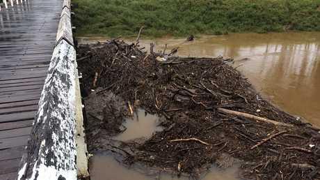 Debris at Booyong bridge.
