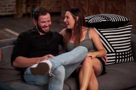Andy and Vanessa pictured during Sunday's final dinner party on Married At First Sight.