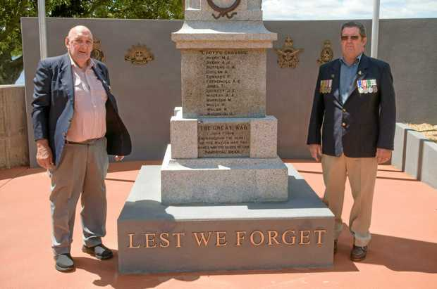 CEREMONY: South Grafton RSL Sub-branch president Bob Hayes and ccenotaph committee chair Fred Norris get ready for the upcoming dedication of the new cenotaph at South Grafton.
