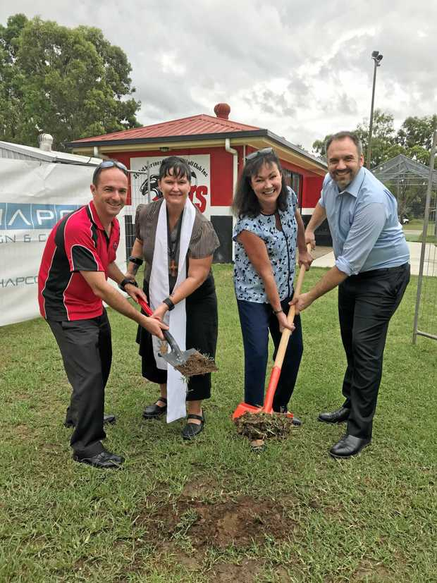 LET WORK BEGIN: St Cats Football Club president Mark Spicer, Reverend Tania Eichler, Member for Mt Ommaney Tarnya Smith and Jamboree Ward Councillor Matthew Bourke .
