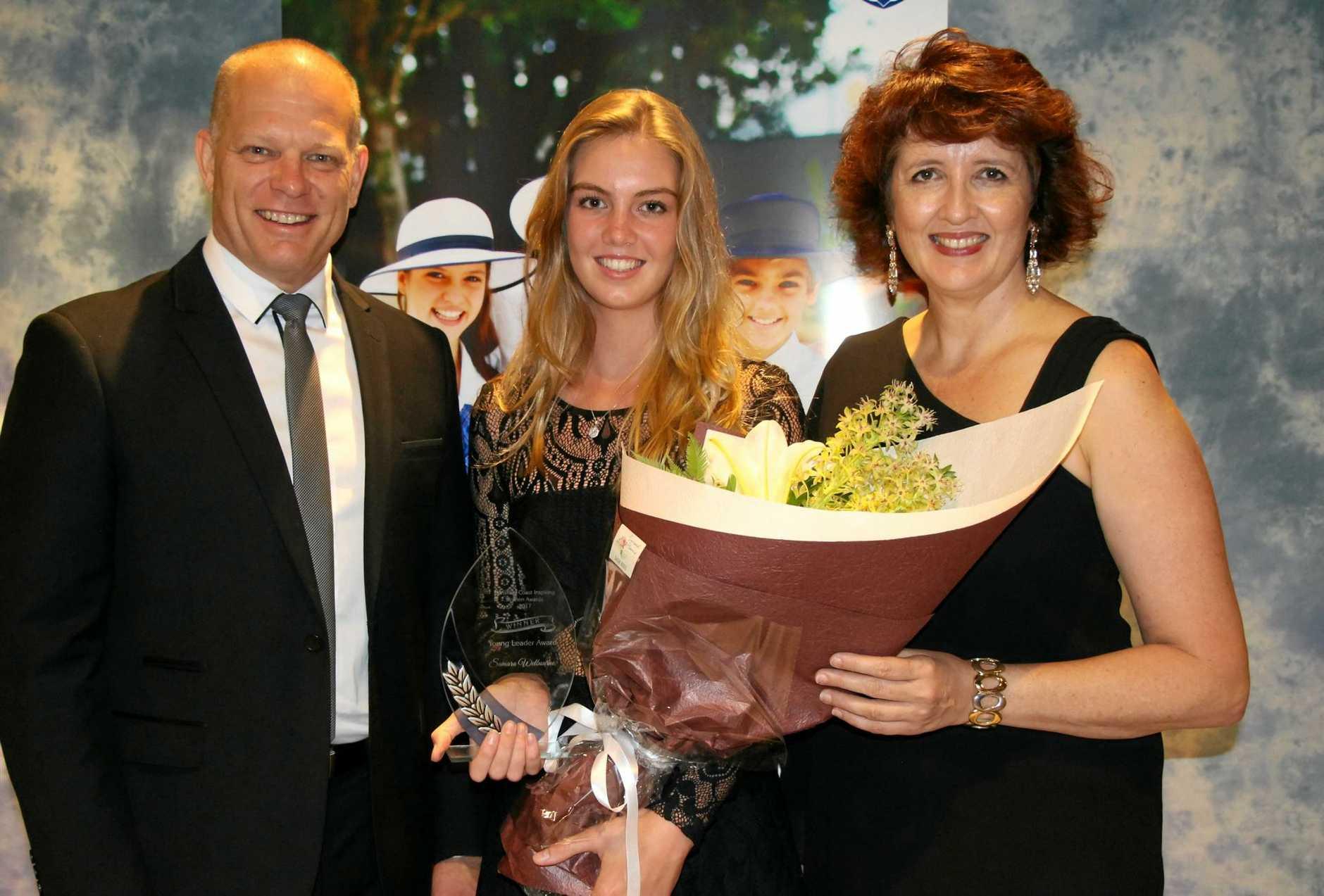 WELL DONE: Greg Mattiske, Young Leader Award winner Samara Welbourne and  Maroochydore MP Fiona Simpson.