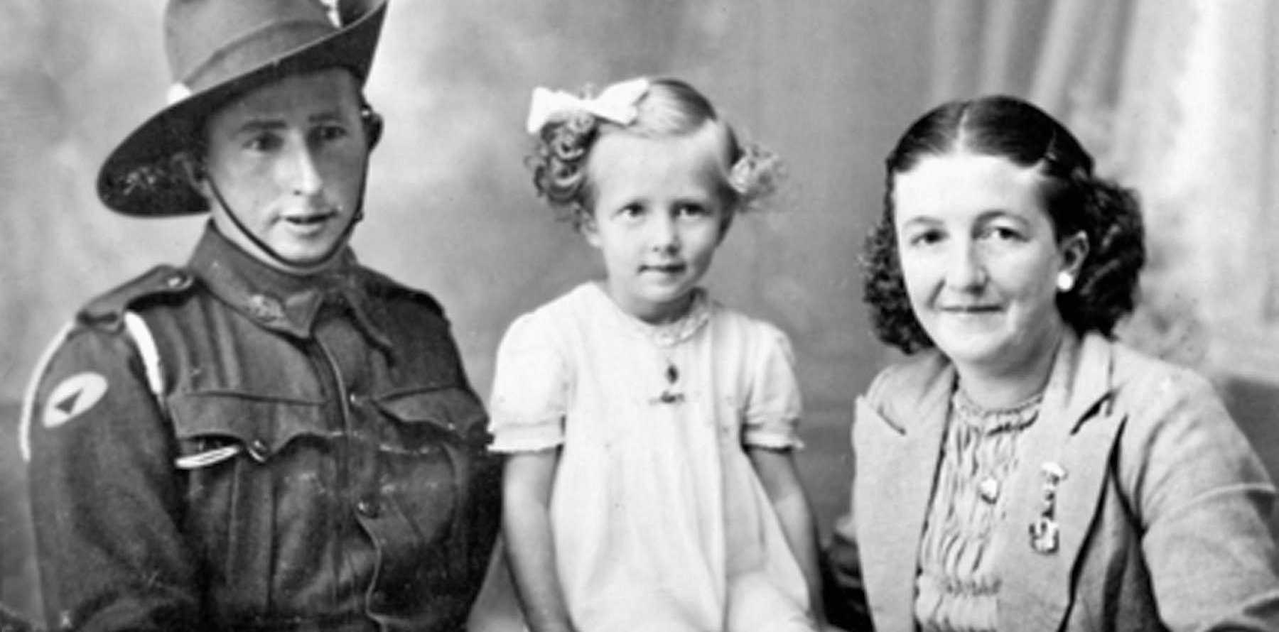 SCHUHMACHER SIBLINGS: Pte John H.C. Schuhmacher with sister Kathleen Hackett and niece Lesley Hackett.
