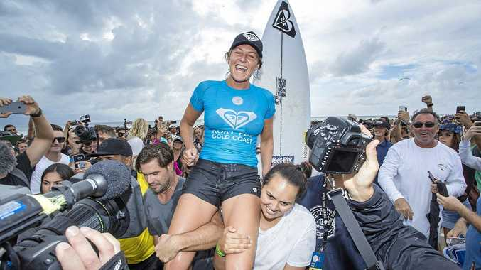 I'M BACK: Six time world champion Stephanie Gilmore of Australia won her sixth Roxy Pro Gold Coast title on Sunday.
