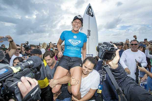 I'M BACK: Six time world champion Stephanie Gilmore of Australia won her sixth Roxy Pro Gold Coast title on Sunday.