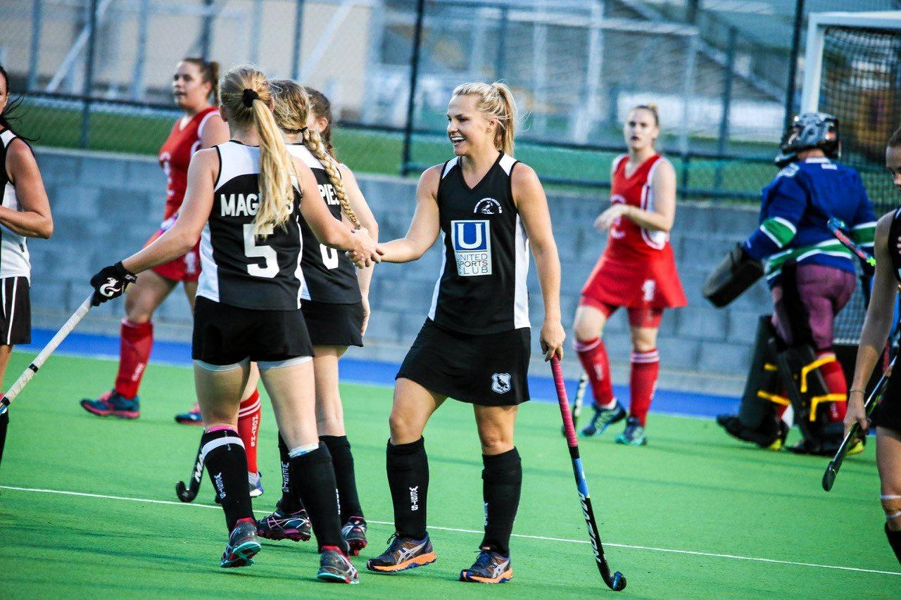 SHARP SHOOTER: Wests A Grade player Amy Kickbusch celebrates one of her three goals in her team's win over Norths.