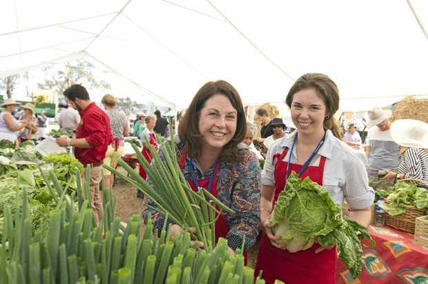 FOOD FESTIVAL: Enjoying the Felton Food Festival last year are Katrina Meara (left) and Brigitte Meara who sold their produce.
