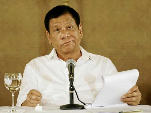 Philippine President Rodrigo Duterte says his militarily inferior country can't stop China's actions in contested waters, responding to a reported plan by Beijing to construct an environmental monitoring station in a disputed shoal off the Philippines' northwest coast.