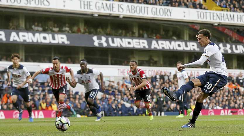 Tottenham Hotspur's Dele Alli scores a penalty in the 2-1 win over Southampton.
