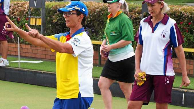 HAD A BLINDER: Marilyn Clayton, left, directed her rink to great success in the Queensland v Invitational matches at Sunnybank Bowls Club on Sunday.