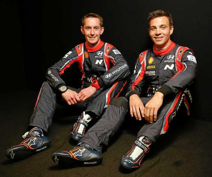NEW TEAM: WRC driver Haydon Paddon (right) will have Seb Marsgall calling the pace notes later in the championship.