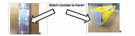 Epi-pen batch number location.