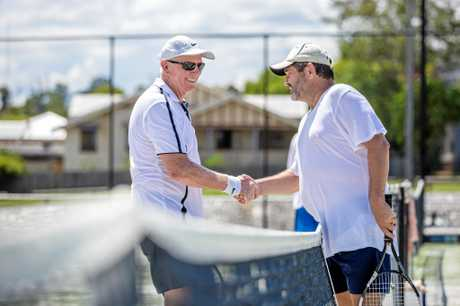 SPORTSMANSHIP: Barry Hardingham of Gympie (Left) Mike Griffiths of Brisbane (Right) shake hands after a tough match.