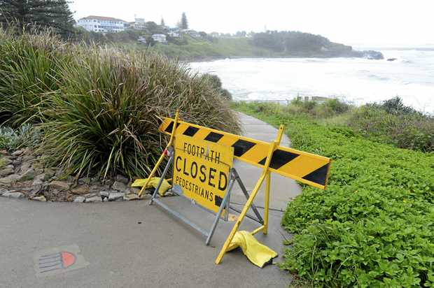 The pedestrian walkway to Main Beach Yamba was closed on Saturday due to potential land slippage issues on Yamba Hill. Saturday 18th March 2017.