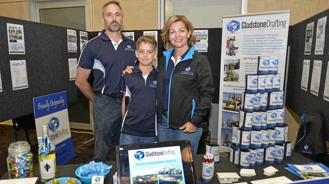 PRICELESS: Anthony, Josh, 11 and Vicki Buenen from Gladstone Drafting. The business has a chance to be seen by Adani.