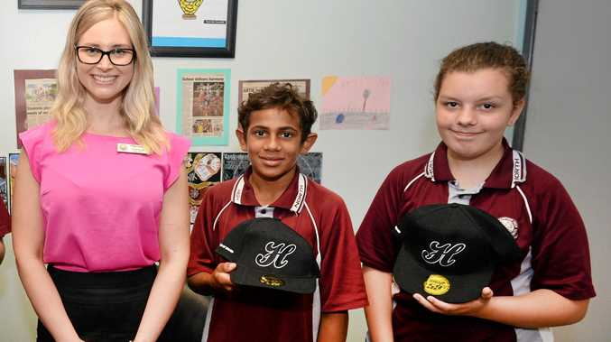 North Rockhampton Hight School's Kylie Butler with Preston Richards and Paige Williams.