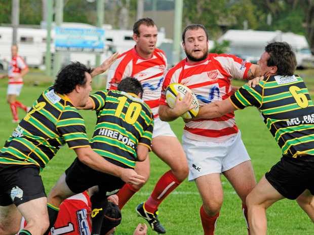 STRUGGLE: Grafton Redmen's Zac Mason-Gale in action against four-time premiers Hastings Valley Vikings.