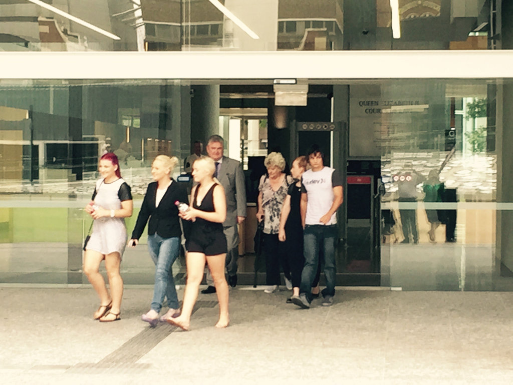 Supporters of Picture of Cooloola Cove man Matthew Leslie Armitage, who is one of three people accused of murdering Shaun Barker and dumping his body near Gympie leaving court after his unsuccessful bail attempt. Picture: Adam Davies