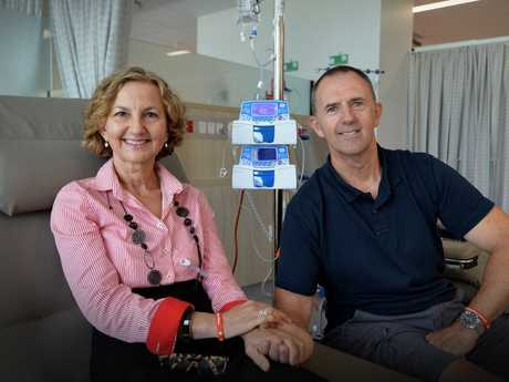 Lu Crosby, mother of Adem Crosby, is the first patient to be treated in the state-of-the-art cancer care centre that bears her son's name at the Sunshine Coast University Hospital. Lu's consultation and treatment marks the commencement of outpatient services at SCUH, as part of the new hospital's staged opening process. Brent and Lu Crosby.