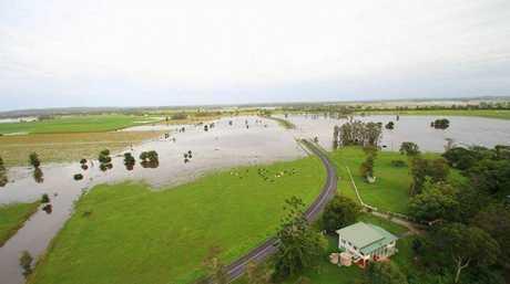 Flooding around Bungawalbyn creek south of Coraki, New South Wales.