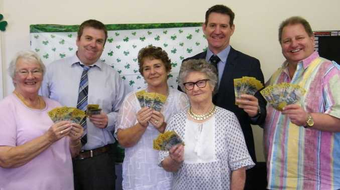 Delighted at the donation to the Toowoomba Hospice are (from left) Toowoomba Hospice Association Secretary Janice Swannell, Big Doo organisers Greg Priebe, Dell Priebe, Clare Bothmann, Brett Priebe, & Hospice's Mark Munro.