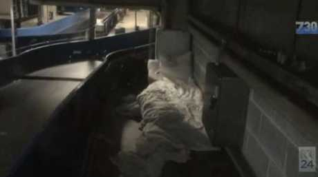 Makeshift beds underneath the passenger terminals.