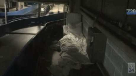 Makeshift beds underneath the passenger terminals.