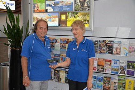 Ballina Visitor Information centre - Current Ambassador, Derek Forkgen with Gwenda Demaagd.