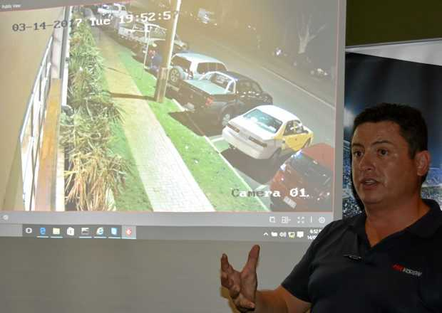 SEEING ALL: Hikvision's Dean Edwards shows how CCTV can turn Cooroy's dark streets into windows on crime.