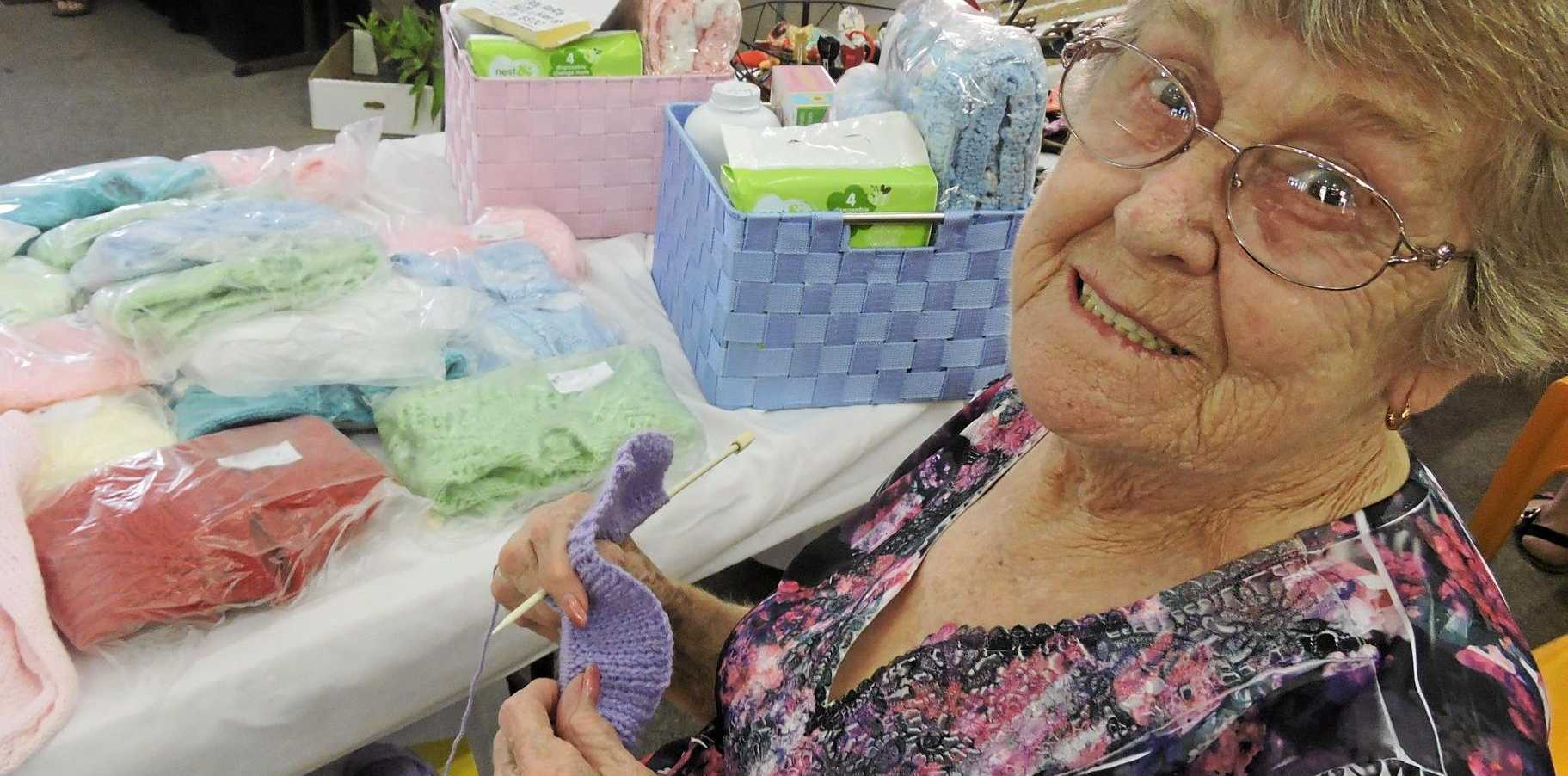 PRACTISE MAKES PERFECT: Maryborough's Elaine Harris, 82, has been knitting since she was seven years old.