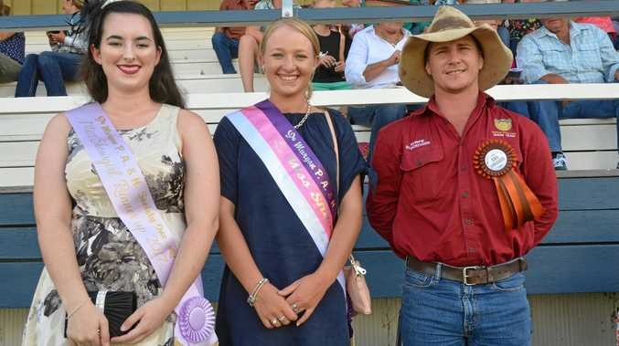 KEY PEOPLE: Miss Showgirl runner up Abby Jenkinson, Miss Showgirl Madeline Rockemer and Rural Ambassador Nathan Limpus at the 2017 Murgon Show.