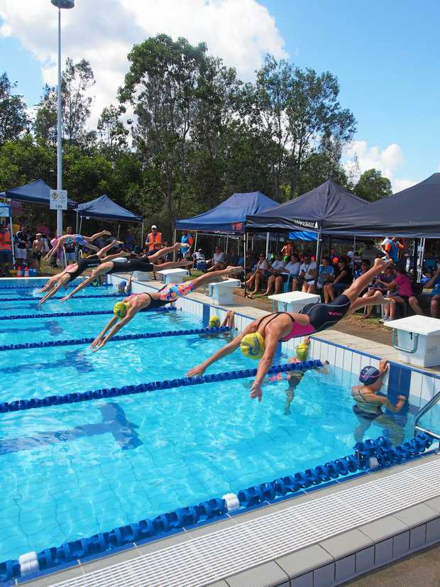 SPLASHDOWN: They're off and racing for the inaugural Eumundi Swimming Carnival.