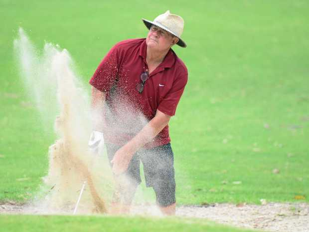 STEADY: Ross Jeffs kicks up dirt in the bunker.