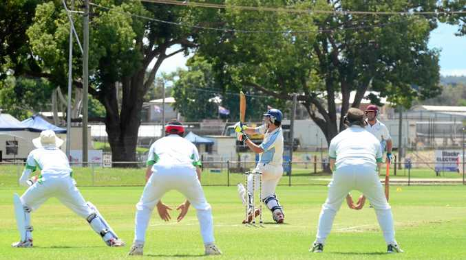 ON THE FIELD: Andrew Askin hits a boundary as the Kumbia slips can only watch.