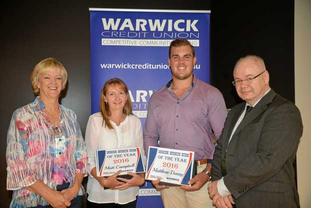 Guest speaker and retired Australian hockey player Kerry Wharton, Angie Campbell representing son and joint winner Matt, joint winner Matthew Denny and Warwick Credit Union CEO Lewis von Stieglitz after the Daily News/Warwick Credit Union Senior Sports Star of the Year awards night at the Warwick RSL Memorial Club.