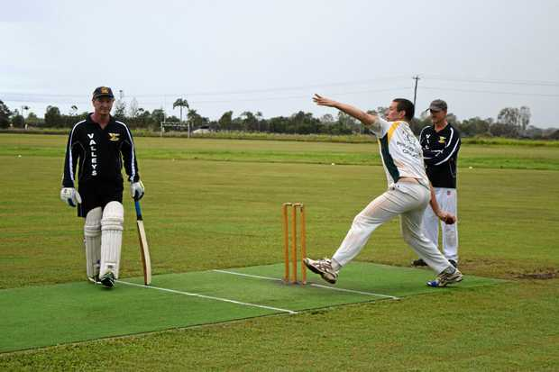 QUICK: Dave Vickers steams in to bowl a delivery at Proserpine Cricket Club.