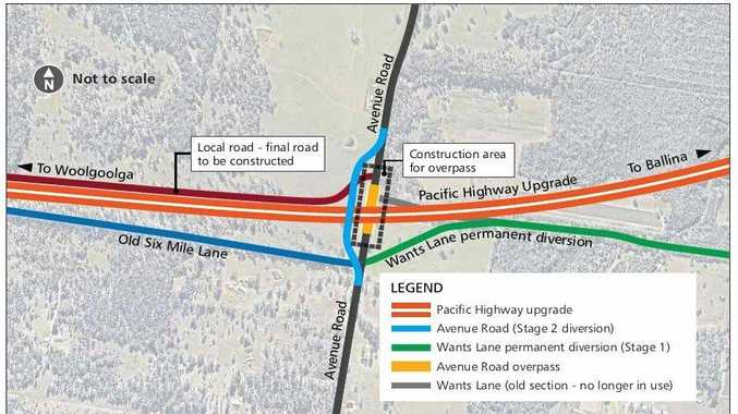 CHANGED CONDITIONS: As part of the Pacific Hwy upgrade, there are changed traffic conditions at Wants Ln and Avenue Rd at Glenugie.