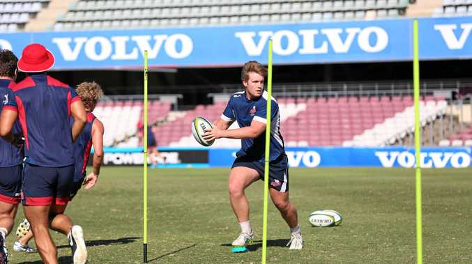 Former Toowoomba Grammar School First XV member Harry Hoopert training with the Queensland Reds senior squad.