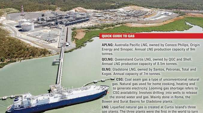 A tanker carrying LNG from Santos GLNG site with a glossary of terms about Gladstone's $70B industry.
