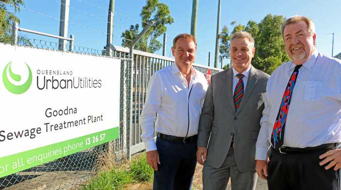 APPOINTED: Mayor Paul Pisasale and Deputy Mayor Paul Tully with Ipswich engineer and businessman Bruce Leslie who will join the QUU board.