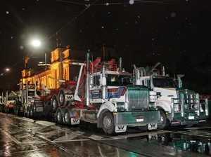 Trucks began arriving at 5am.
