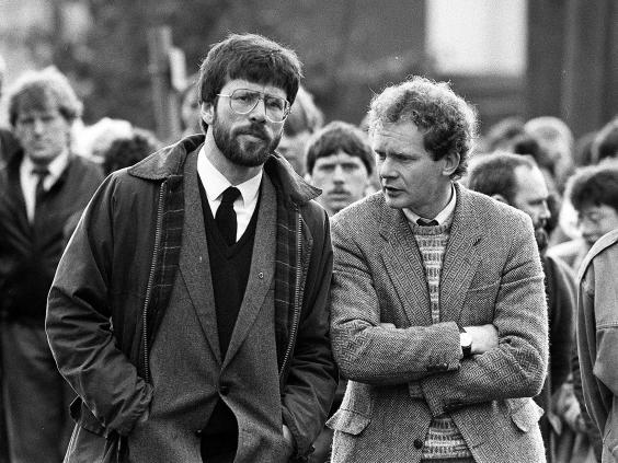 President of Sinn Fein, Gerry Adams and West Belfast MP Martin McGuinness at the funeral of Patrick Kelly, the reputed IRA commander in East Tyrone. Photo: AAP